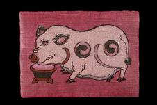 Image populaire: un cochon en train de se nourrir