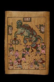Image populaire procession du dragon-licorne