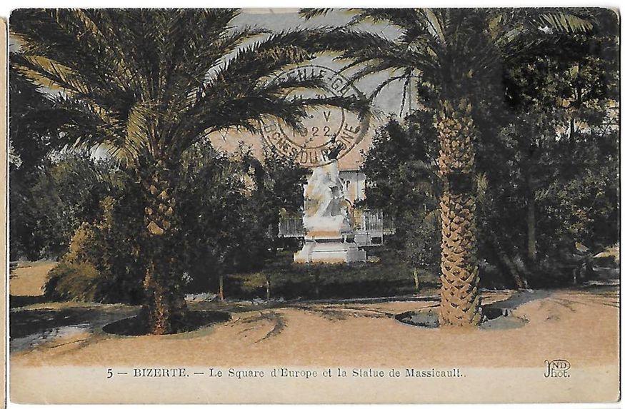 Bizerte - Le Square d'Europe et la Statue de Massicault