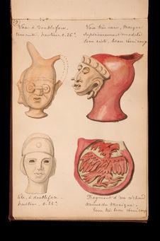 Vase et tête à double-face, vase à masque et fragment de réchaud