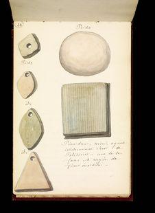 Poids et pierre dure ayant servi de polissoire