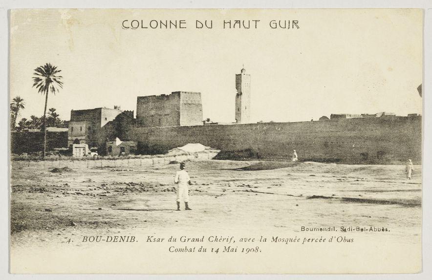 Bou-Denib. Ksar du Grand Chérif, avec la Mosquée percée d'Obus. Combat du 14 Mari 1908