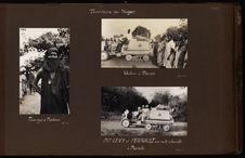 MM. Levy et Perrault sur auto-chenille à Maradi