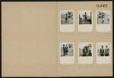 Guinée [différentes constructions, un tamtam et deux enfants faisant la cuisine]