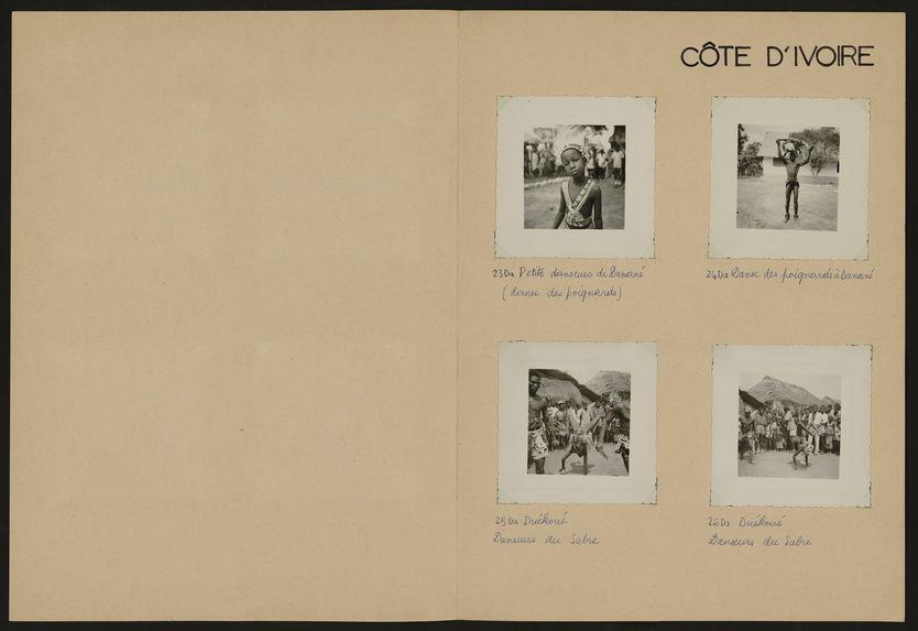 Côte d'Ivoire [potière à l'oeuvre, danseurs un cours d'eau]