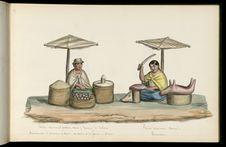 Marchande de pommes de terre, de maïs et de farine d'avoine. Bouchère