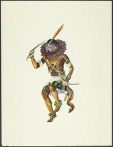 Sans titre [Kachina portant un masque avec plumes orange sur la tête et collier...