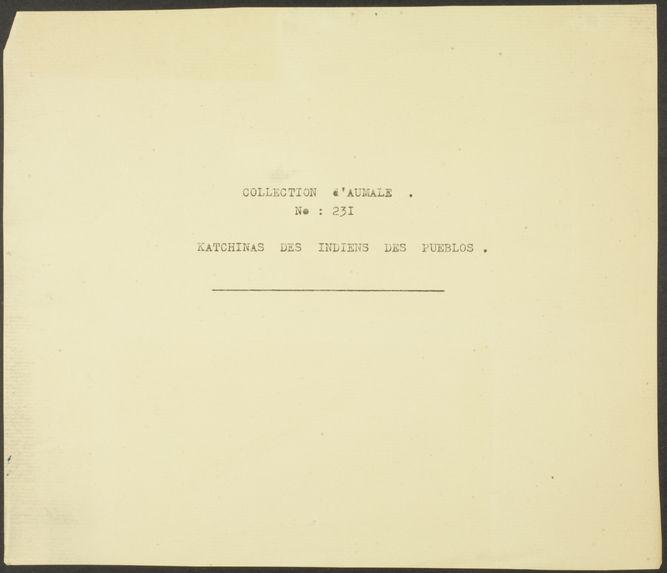 Collection d'Aumale. N° 231. Katchinas des indiens des Pueblos