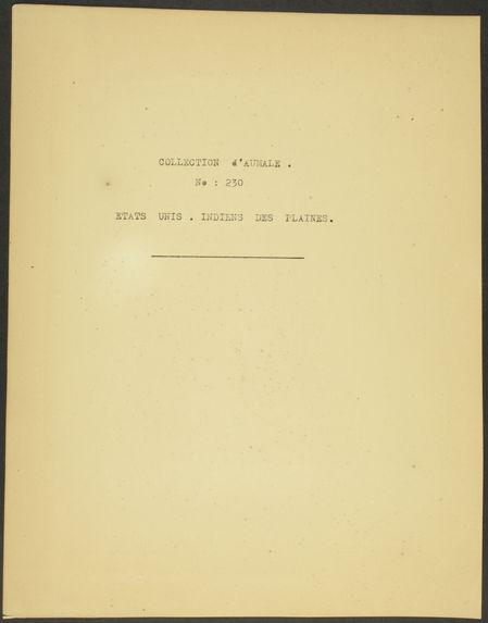 Collection d'Aumale. N° 230. Etats-Unis. Indiens des plaines