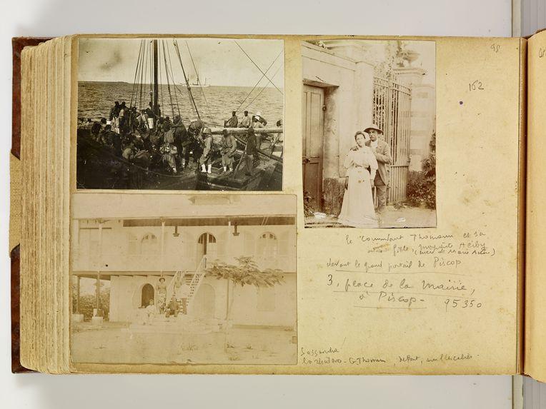 Le commandant Thomann et sa fille, Marguerite Heiby, devant le grand portail de Piscop