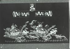 Scène mythique peinte sur un vase Mochica : scène de pêche