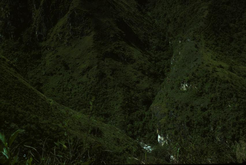 Buang Mapos. Paysages. Buang, Suwai. Vue vers Ranguai à hauteur de Pavelengje[?] à droite chemin vers Paperene
