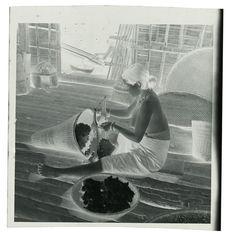 La femme carde le kapok (carder = mettre en fil, comme on fait pour le coton)