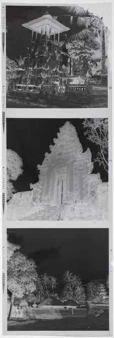 Bande film de trois vues concernant des bâtiments sculptés et petits autels