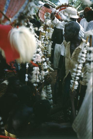 Danse daka [danseurs et hommes tenant des bâtons habillés de blanc]