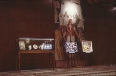 """Vue de l'exposition """"Clovis Trouille"""" dans la salle des Fêtes"""