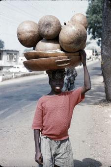 Jeune garçon portant des citrouilles