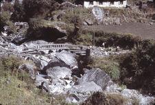 A typical bridge at Kusumchanga over a Dudh Kosi Tributary