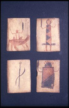 Jeu de cartes en peau peinte