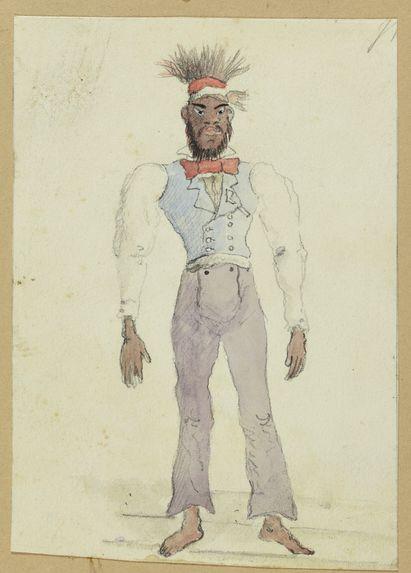 Recto : Sans titre [Damaloud de Balade, vêtu à l'européenne par l'équipage du Prony]Verso : Sans titre [Paysage de Nouvelle-Calédonie]