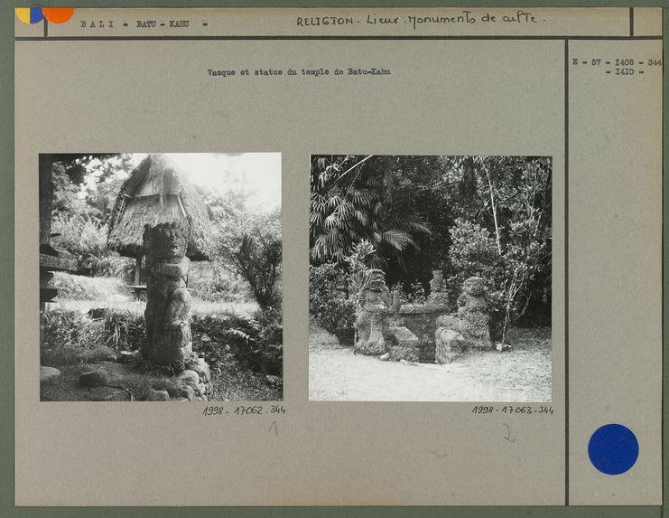 Vasque et statue du temple de Batu-Kahu