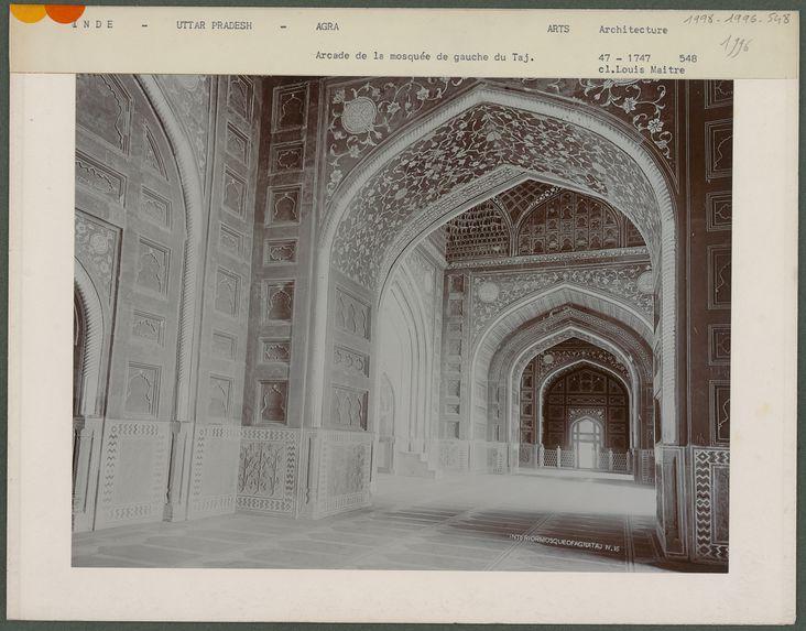 Arcade de la mosquée de gauche du Taj, Agra