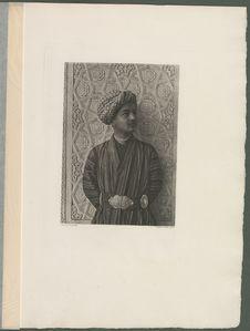 Un Jeune Tadjik portant la ceinture de soie ornée de plaques d'argent ciselé