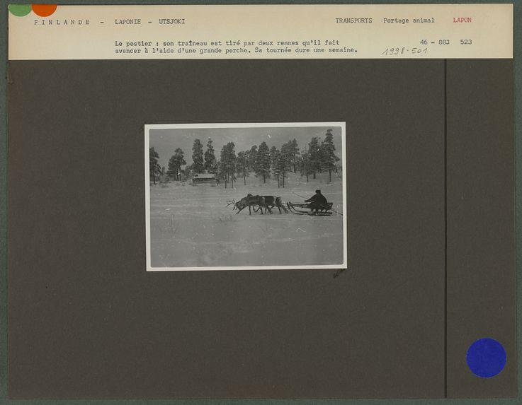 Le postier : son traîneau est tiré par deux rennes