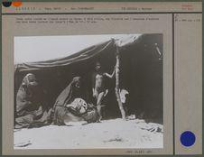 Femme noble jouant de l'imzad devant sa tente