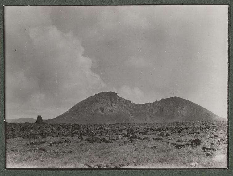 The Rano-Raraku mountain of the statues