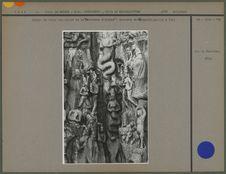 """Détail du Grand bas-relief de la """"Pénitence d'Arjuna"""": Descente du..."""