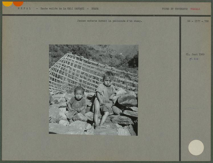 Jeunes enfants devant la palissade d'un champ
