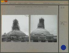 Restauration du sommet du grand stupa de Bodnath