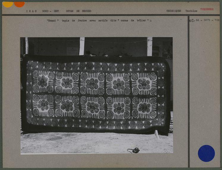 """"""" Namad """" tapis de feutre avec motifs dits """" corne de bélier &quot"""