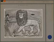 Peinture, chasse au lion