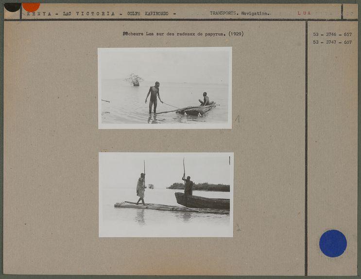 Pêcheurs Lua sur des radeaux de papyrus
