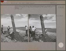 Fouilles mettant à jour l'une des trois sculptures monolithiques qui se...