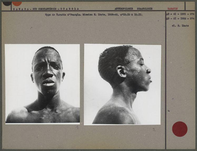 Type de Haratin d'Ouargla [portrait de face d'un homme]