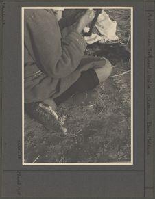 Jambière tricotée en laine brune