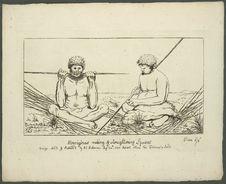 Aborigenes making & straightening spears.