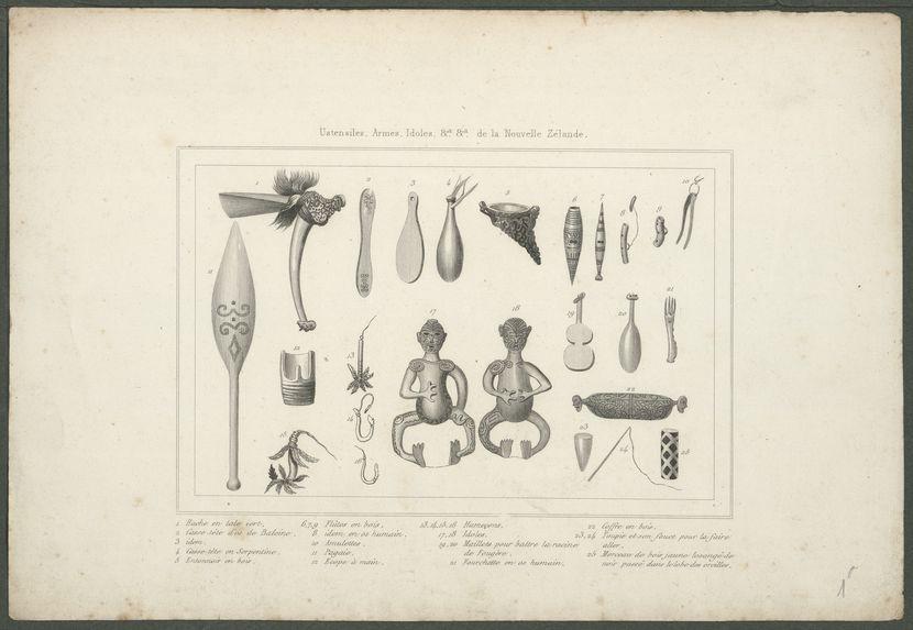 Ustensiles, Armes, Idoles, &a, &a, de la Nouvelle-Zélande.