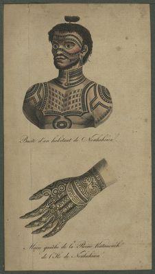 Buste d'un habitant de Noukahiwal - Main gauche de la Reine Katanoush de L'Ile...