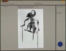 Marionnette de Wayang Kulit en bois et cuir