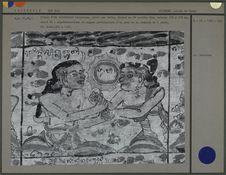Détail d'un calendrier horoscope peint sur toile