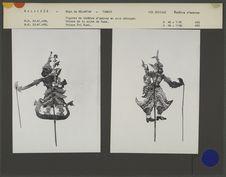 Figures de théâtre d'ombres malais Wayang Siam : Prince de la suite de Rama et...