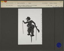 Figure de théâtre d'ombres malais Wayang Jawa : Grotesque Po Daga