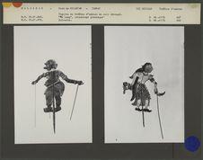 Figures de théâtre d'ombres malais Wayang Siam : Grotesque Po Lung et suivante