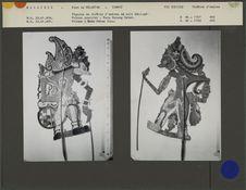 Figures de théâtre d'ombres malais Wayang Jawa : Prince guerrier Ratu Gunang...