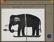 Figure de théâtre d'ombres en cuir : éléphant