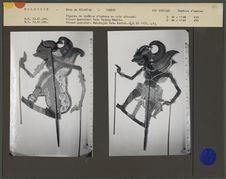 Figures de théâtre d'ombres malais Wayang Jawa : Princes guerriers Ratu Gedong...